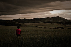Waiting for something (marcolinho) Tags: red sky cloud mountain storm green nature grass landscape alone nicola sony natura calm cielo cagliari paesaggio flickrchallengegroup flickrchallengewinner