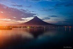 Mayon Volcano at Dusk (|d|e|x|) Tags: sunset sea reflection clouds landscape volcano twilight