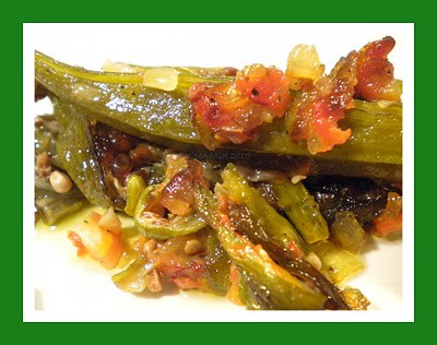 Bamies Me Saltsa or Fried Okra with Tomatoes @ Recipe Addict