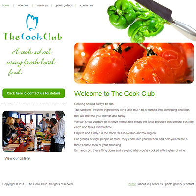 Website designed for a Cooking School, The Cook Club Nelson, Wellington, New Zealand