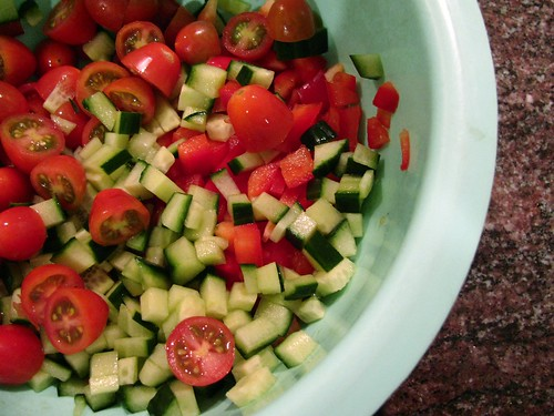 Cucumbers, cherry tomatoes and red pepper