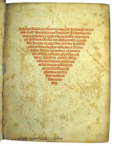 Title Page of 'Practica, Quae Alias Philonium Dicitur'