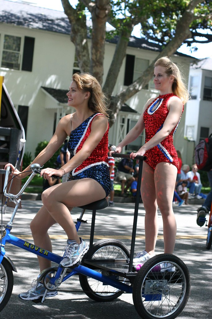 Spangly bike girls