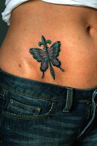 Butterfly Fleur-de-lis Sceptre Tattoo