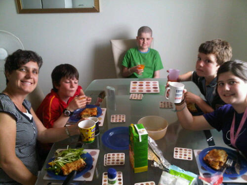 Family meal in LATCH kitchen