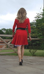 Red dress and white slip (deborah summers2010) Tags: stockings dress lace skirt heels slip satin slips