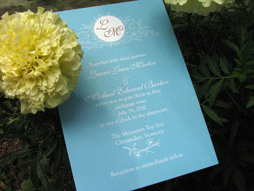 Aquamarine Vintage Wedding Invitation 3