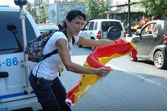 The Flag Matador (austinhk) Tags: world africa red españa woman canada cup girl germany southafrica deutschland photo football spain montréal image quebec montreal fifa flag soccer south watching picture images wm menschen tournament wc spanish québec vs fans cheer worldcup stlaurent monde coupe fever versus 2010 matador sudafrica coupedumonde copadelmundo austinhk austink worldcupfans copamundo fifaworldcup2010 germanyloses ruesaintlaurent worldcup2010 stlaurentstreet stlaurentst saintlaurentst worldcup2010insouthafrica lafriquedusud spaindefeatsgermany