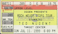 07/11/99 Ted Nugent/Night Ranger/Quiet Riot/Slaughter @ Minneapolis, MN (Ticket)