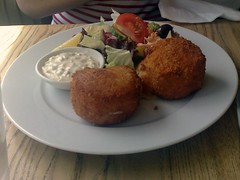 Salmon and haddock fishcakes at the Water of Leith Cafe Bistro
