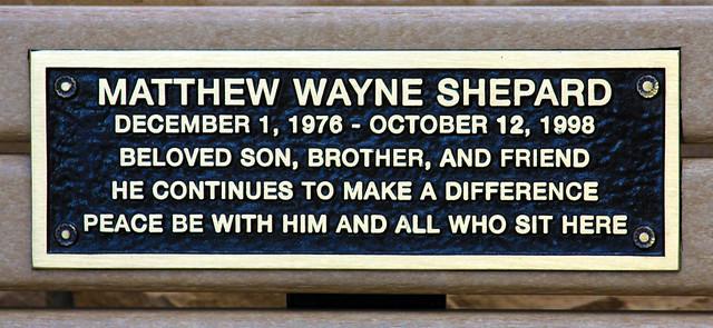 Memorial bench, Matthew Shepard