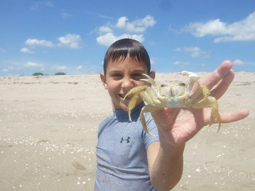 Joseph with his ghost crab
