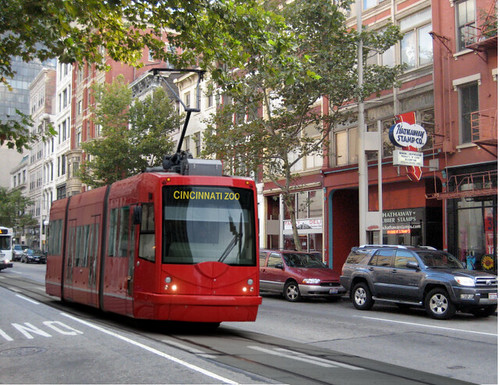 rendering of Cincinnati streetcar (courtesy of Randy Simes, Urban Cincy)
