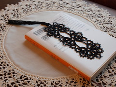 """Black Magic"" tatted bookmark"