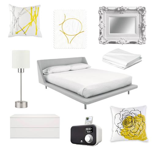 Black white yellow bedroom black white black white - White yellow and grey bedroom ...