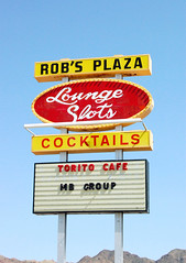 Rob's Plaza (Nick Leonard) Tags: old red sky white classic sign yellow vintage nevada nick lounge signage cocktails slots boulderhighway nickleonard robsplaza toritocafe mbgroup