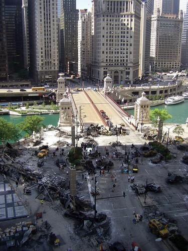 Michigan Avenue destroyed by Decepticons