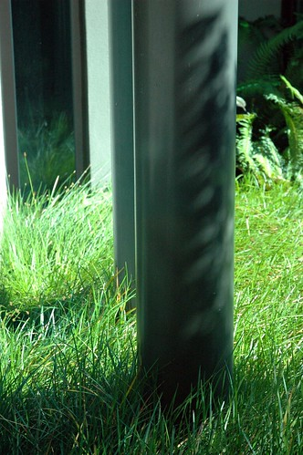 Painterly Abstract, building column, grasses, Art outside, Frye Art Museum, Seattle, Washington, USA by Wonderlane