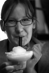Mojito (Don Gissel) Tags: portrait blackandwhite bw girl smile contrast glasses drink mohito bnw straws jeanette
