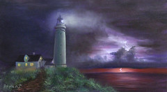 Lighthouse with Stormy Skys (lesbryant2) Tags: sea sky lighthouse clouds myart lightning oilpainting oiloncanvas