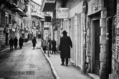 when the future writes the past (David Mor) Tags: bw black jerusalem jewish jews orthodox ashkenazi ultraorthodox meashearim blacwhite shtreimel hardi