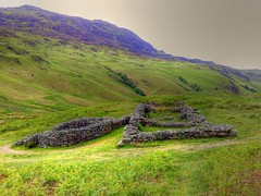 Bath House Hard Knott Roman Fort Cumbria (woodytyke) Tags: uk sea england sky house lake rome green english grass stone clouds landscape geotagged ancient bath scenery view roman fort britain district hard lakes pass cumbria fells empire british walls civilisation hadrian fell eskdale knott woodytyke
