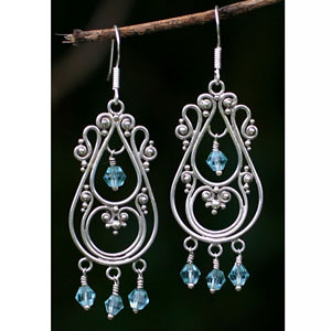 Novica Memories Sterling Silver Chandelier Earrings