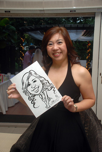 caricature live sketching for David & Christine wedding dinner - 6