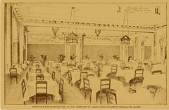Historic photo from 1920 - Carls-Rite Hotel interior - dining room - particular attention paid to comfort of ladies and children traveling alone (Hotel Carls-Rite) in Downtown