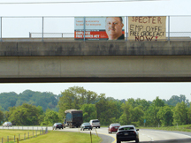 In Pennsylvania, members sent thousands of letters to Sen. Arlen Specter and hung banners on bridges and highway overpasses.