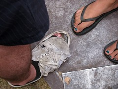 exposed toes (silverfuture) Tags: people chicago toes crowd ripped worn flipflops vans pitchfork fallingapart unionpark pitchforkmusicfestival pitchforkmusicfestival2010 timeforsomenewshoes