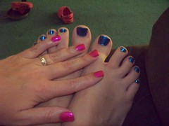 pink nails and blue toes