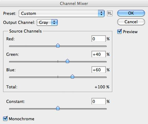 Channel Mixer settings - Purkinje correction