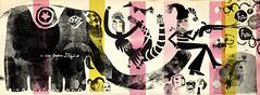 """Circus"" for Revista Gooo (andrea_daquino) Tags: elephant art collage illustration graphics monoprint drawing circus clown printing acrobat"