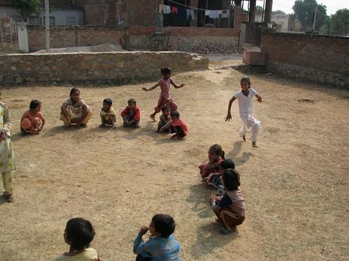 Jaipur street kids playing duck duck good