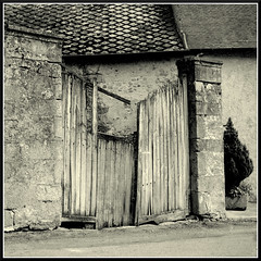 Neglected.... (mikeinlagardette) Tags: tlr mediumformat japanese 4x4 127 diafine triplet alternative creuse 100asa yellowfilter cheapcameras entrances foma rollfilm yashica44 centralfrance doorsandgates dunlepalastel