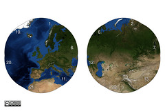 Earth panoball tiles (Bogdan L) Tags: world 3d globe origami map earth nasa puzzle tiles modular kirigami papercraft bluemarble oschene mathmap noglue curvedfolding bogdanl panoball