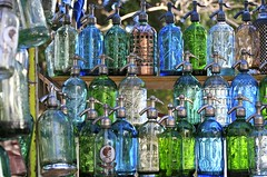 Coloured Glasses (Alex E. Proimos) Tags: old blue green classic fountain glass bottle bottles gas clear pump soda reflexions coloured multi multicolour proimos alexproimos