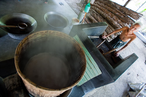 Producing palm sugar in Samut Songkhram, Thailand