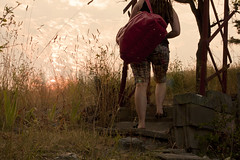 Day 77 .arriving. (Michelle Elaine.) Tags: sunset summer vacation portrait sky oneaday dreadlocks photoshop self bag geotagged steps trellis arbor sp remote 365 vernon 1740mm actions selfie arriving okanogan project365 365days canon40d coffeeshopsunkissedaction