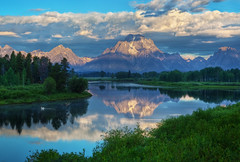 "Morning at Oxbow Bend (IronRodArt - Royce Bair (""Star Shooter"")) Tags: park morning sky white mountain reflection nature clouds sunrise river landscape outdoors quiet mt natural bend snake scenic peaceful grand pelican calm mount national environment mountmoran teton tetons moran range oxbow grandtetonnationalpark gtnp oxbowbend"