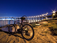 Rusty Bicycle and Dinghys [Explore] (Silver1SWA (Ryan Pastorino)) Tags: california bridge trees sunset beach water bike bicycle night canon eos lights boat sand sandiego rusty sigma palm explore palmtrees sd coronado dingy sandiegobay coronadobaybridge sigma1020 explored 40d canoneos40d