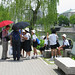 School kids asking tourists about Sadako Sasaki at Hiroshima Memorial