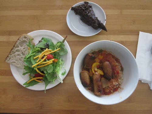 Sausages with peppers and rice, salad, bread, sacher torte from the bistro $6