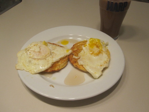 Eggs and waffles, chocolate milk