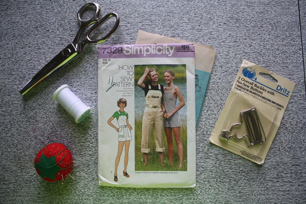 sewing saturday! striped cotton overalls
