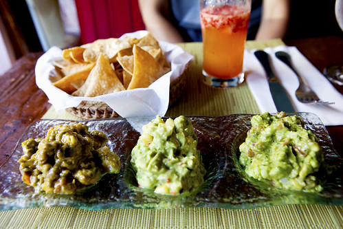 Mimosa and trio of guacamole