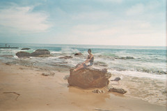 (bisousmonamour) Tags: ocean california blue light summer portrait sky sun film beach nature girl rock clouds outside coast sand scenery exposure ghost double crystalcove teenager cousin lovely disposable kierstin