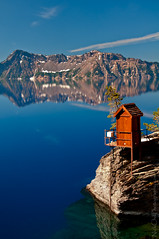 The Edge of Paradise, Crater Lake (Nick Chill Photography) Tags: weather oregon reflections photography nikon image stock conditions craterlakenationalpark waterlevel d300s nickchill measuringstation