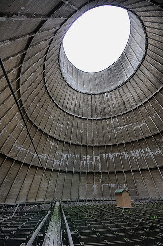 Little house in the cooling tower